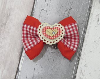 Valentines I love You Heart Dog Double Bow Tie, Dog clothing, Doggy Bow Tie, Puppy Bow Tie, Detachable Bow Tie, Slip on bow tie