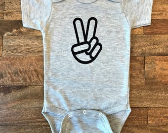 Peace Sign Infant/ Baby Announcement Onesie/ Baby Screen Printed Onesie (Available in White & Gray)