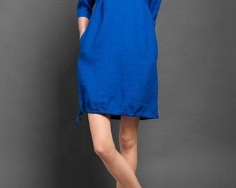 Loose fitting Linen Dress - made in Europe - Summer Clothing - Bright Blue Tunic - リネンドレス