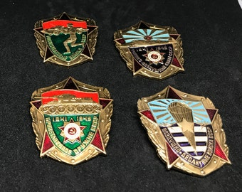 4 Vintage Soviet Union CCCP Military Badge pins