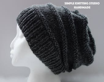 Fashionable Slouchy Hat || Knit Hat, Beanie Hat, Slouchy Beanie  (Color: Dark Gray)