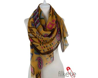Aztec Scarf Paisley  Scarf Trial Scarf  Spring Summer Women Fashion Accessories Spring Celebrations Trend Gift Ideas For Her