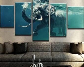 Elephant Swimming Canvas Set Animal Canvas Set Animal Poster Animal Wall Decor Ocean Canvas Set Ocean Poster Ocean Wall Decor