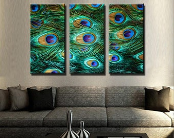 Delightful Peacock Feathers Canvas Set | Animal Canvas Set | Animal Poster | Animal Wall  Decor|