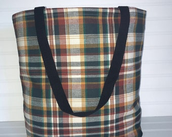 Handmade Everyday Tote | Beach Bag | Autumn Plaid Tote