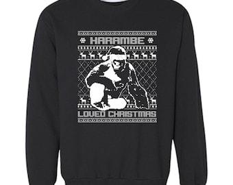 Free Shipping Harambe Loved Christmas Santa Ugly Christmas Sweater Snowflake Party Elf HO HO Men Women Sweatshirt Crewneck Black