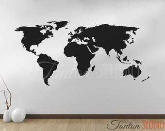 World Map Decal   Wall Decal Matt Vinyl Or Dry Erase Or Chalkboard   Wall  Art Part 79