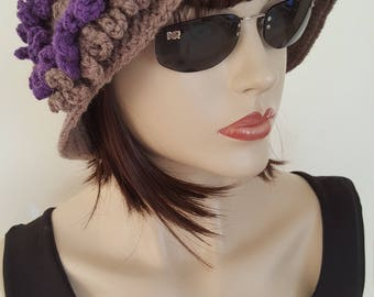 Cloche Women Winter Hat, With removable flower