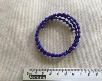 Purple blue memory steel wire bracelet
