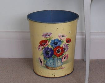 Pretty, floral, 1950's, metal wastepaper bin, dustbin, trash can