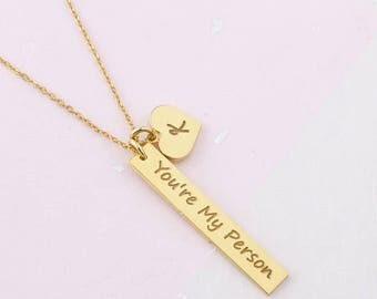 You Are My Person Necklace - Mother Necklace - Necklace for Mom - Initial Necklace - Personalized Gift - Gift for Her