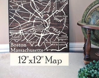 Boston Map, Large Wood Map, Boston City Map, Boston Wall Art, Boston Wood Map, Boston Art, Personalized Map, Custom City Map by Novel Maps