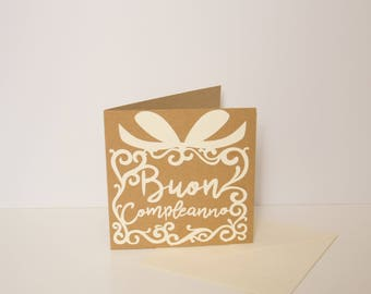 Hand carved Happy Birthday greeting Card