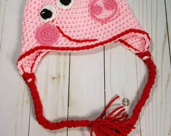 Crochet Peppa the Pig Inspired Hat Beanie | Infant to Child