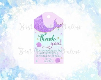 Mermaid Thank You Tags, Mermaid Party  Favors, Mermaid Birthday Party tag, Little Mermaid Tags Under the Sea Gift Tags, Mermaid birthday tag