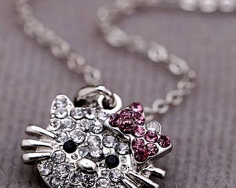 Clear & Pink  Rhinestone Hello Kitty Necklace