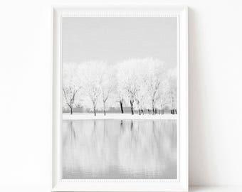 Digital download print, landscape wall art, landscape wall decor, winter snow printable poster, blue wall art, blue wall decor, winter print