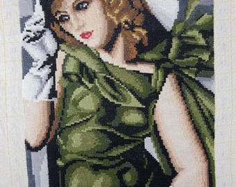Tapestry - Embroidered pictures - Vintage Embroidered - Hand Made Embroidered - The lady in green.