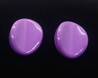 80's Large Purple Plastic Earrings Silver Tone Stud Back Bright Purple Retro Earrings