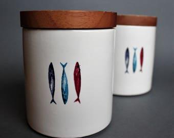 Rare Lidded Bowl SAGAFORM Sweden Design by Åsa Lindberg Fishes Motive