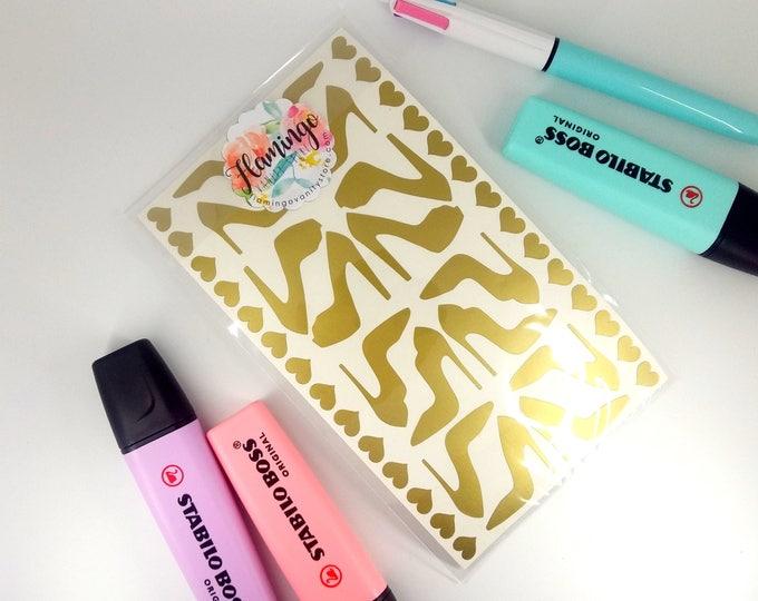 Featured listing image: Set di Stickers Adesivi in Vinile a forma di Scarpa con il Tacco Alto Stiletto Cuori - Scegli il tuo Colore
