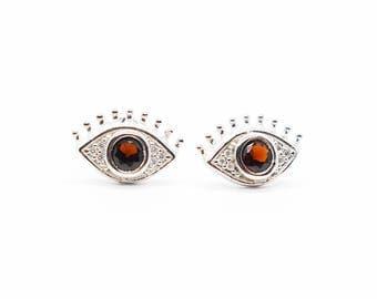 Sterling Silver Zirconia Eye Earrings