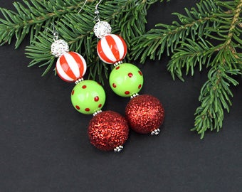 Dangle Christmas Earrings Totally Tacky with Glitter Beads and Shimmering Rhinestones Ugly Christmas Jewelry