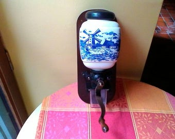 Vintage French wooden and blue-painted ceramic and metal wall-mounted coffee mill