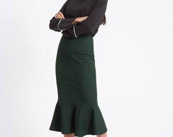 Cotton Blend Printed Fishtail Skirt