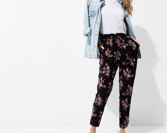 Floral Print Tapered Trousers - Tie Waist Tapered Trousers
