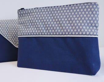 Saki blue makeup pouch