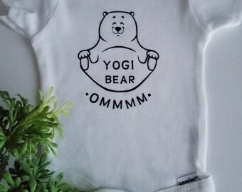 Yogi bear onesie, yoga baby clothes, baby bear, baby girl onesies, baby boy onesies, baby shower gift