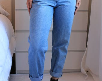 Vintage Mom Jeans Embroidered Denim Limited Brand 90s High Waisted Light Wash W25 Small