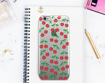 Clear iPhone Case, Cherries Pattern iPhone 8 case, iPhone X case, iPhone 6 case, iPhone 6s case, iPhone 7 case, Cherry pattern clear case