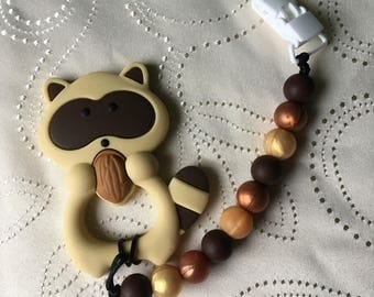 Raccoon Teether, Silicone Teether, Soother clip, Pacifier Clip, Teething toy, Baby Toy, Teething,Raccoon, Teether, Bown, Gold, Copper