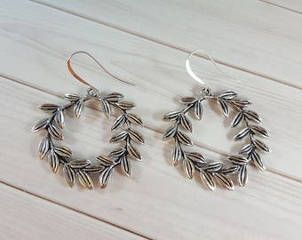 Laurel Wreath Earrings -  Laurel Wreath Silver - Large Wreath Earrings - Laurel Wreath Jewelry - Botanical Earrings