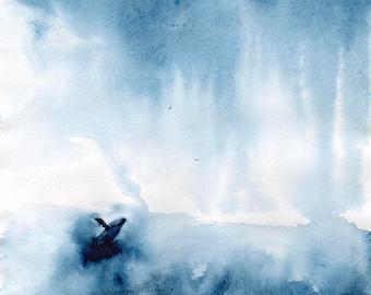 seascape paintings, blue wall art, watercolor painting, SvetnikArt