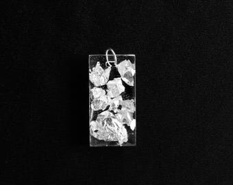 Rectangular resin and silver leaf pendant