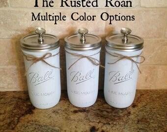3 Mason Jar Kitchen Set, Kitchen Canister Set, Canister Set, Mason Jar Storage, Mason Jar Decor, Painted Mason Jars, Rustic Mason Jar Decor