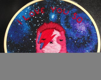 David Bowie sloth embroidery