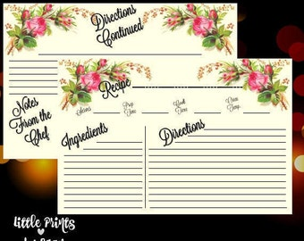 Floral 6x4 Printable recipe cards / old fashioned theme / flowers / older / high quality / instant download / inexpensive / Great for gifts