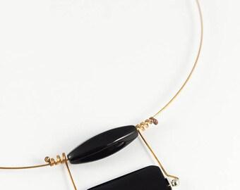 Black onyx pendant, Stone necklace, Onyx necklace, Bronze necklace, Stone jewelry, Minimalist necklace, Copper jewelry, Minimalist jewelry