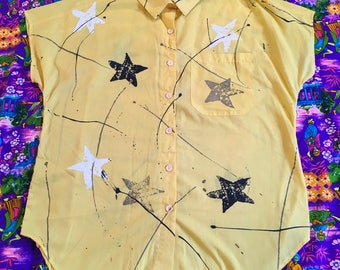 Vintage 1980s Stars and Paint Splatter Button Up Tunic Top Shirt Dress Retro Yellow Black Gray White