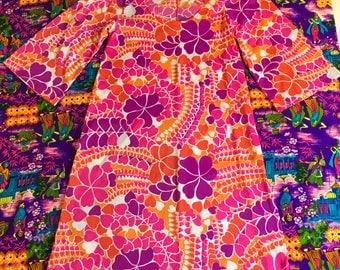 Vintage Psychedelic Hearts Short Bell Flare Sleeves Semi Sheer Maxi Dress Trippy Op Art Groovy Graphic Print Pink Purple Orange Valentine