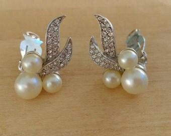 Vintage clip on earrings stamped Marvella, Vintage Rhinestone and Faux pearl earrings