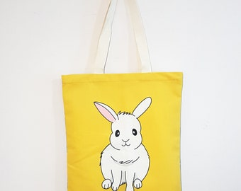 Cute double sided Bunny tote bag with zip, shopping bag, book bag, sharp in colour, softer than canvas, not easy to fade