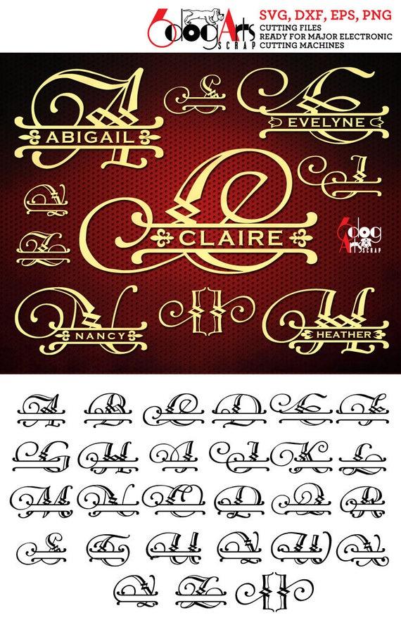 split regal alphabet svg dxf vector cut files monogram font