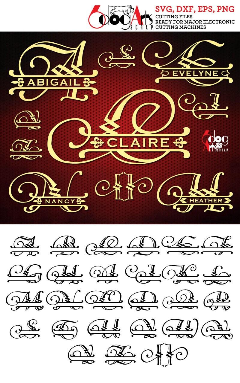 Download Split Regal Alphabet SVG DXF Vector Cut Files Monogram Font