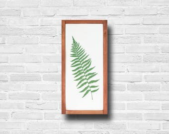 Fern Leaf Art - Wall Hanging - Fern Painting - Wood Sign - Framed - Living Room Decor