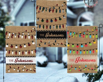 Personalized Christmas Garden House Flag - Holiday Lights Buffalo Plaid and Neon Lights Christmas Garden House Flag